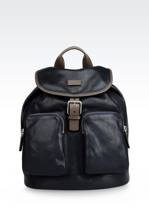 LEATHER RUCKSACK WITH CONTRASTING TRIM: Backpacks Men by Armani - 1