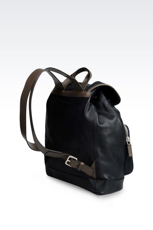 LEATHER RUCKSACK WITH CONTRASTING TRIM: Backpacks Men by Armani - 2