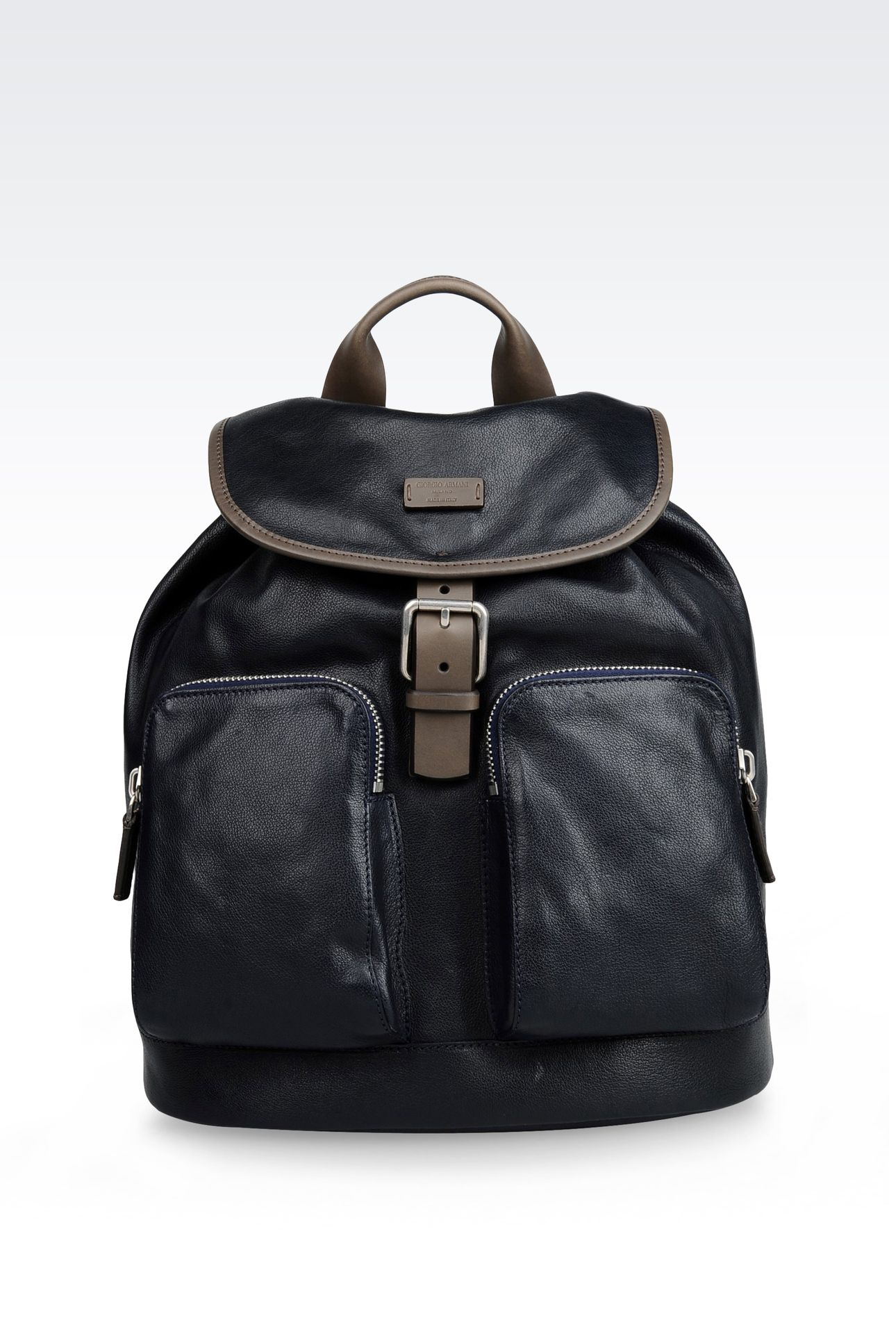 LEATHER RUCKSACK WITH CONTRASTING TRIM: Backpacks Men by Armani - 0