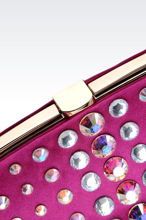 SATIN CLUTCH WITH CRYSTALS: Clutch bags Women by Armani - 4