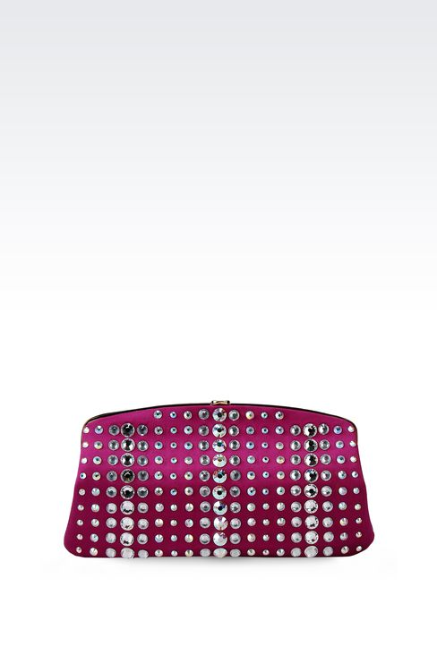 SATIN CLUTCH WITH CRYSTALS: Clutch bags Women by Armani - 1