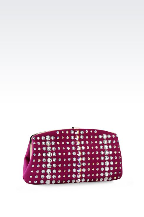 SATIN CLUTCH WITH CRYSTALS: Clutch bags Women by Armani - 2