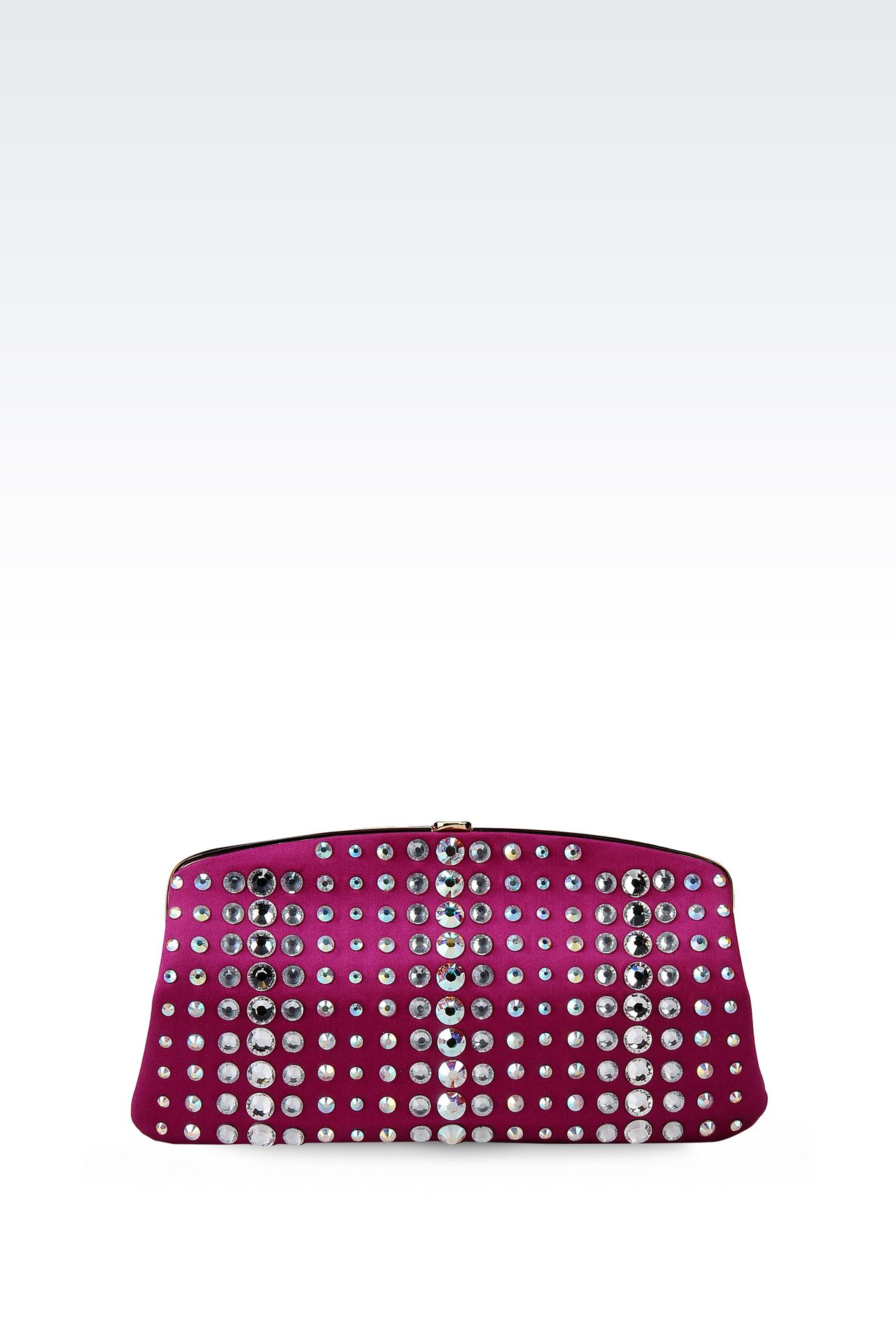 SATIN CLUTCH WITH CRYSTALS: Clutch bags Women by Armani - 0