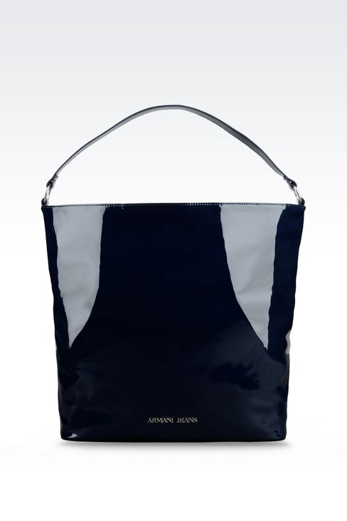 PATENT ECO LEATHER TOTE BAG WITH LOGO: Shoppers Women by Armani - 1