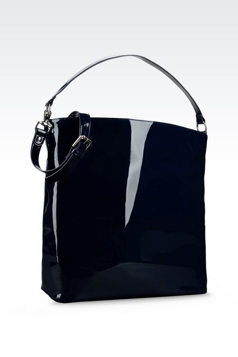 PATENT ECO LEATHER TOTE BAG WITH LOGO: Shoppers Women by Armani - 2