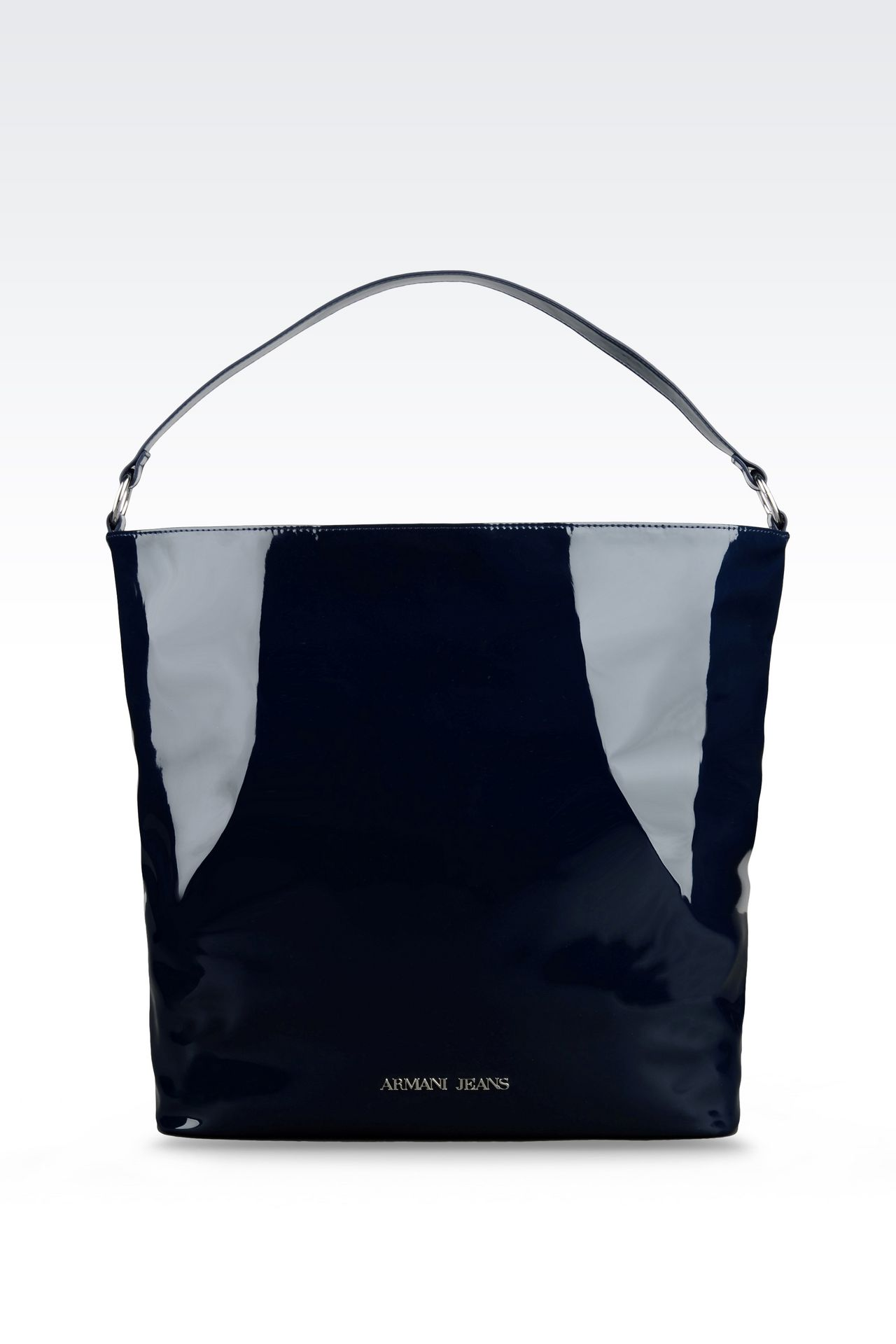 PATENT ECO LEATHER TOTE BAG WITH LOGO: Shoppers Women by Armani - 0