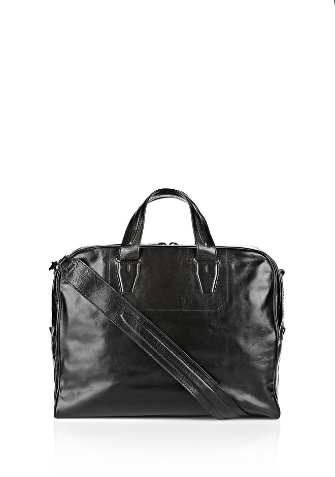 ALEXANDER WANG BRIEFCASE IN WAXY BLACK WITH MATTE BLACK