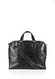 BRIEFCASE IN WAXY BLACK WITH MATTE BLACK