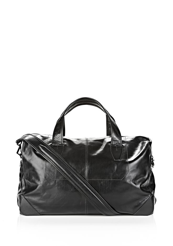 ALEXANDER WANG Travel Men WALLIE DUFFLE IN WAXY BLACK WITH MATTE BLACK