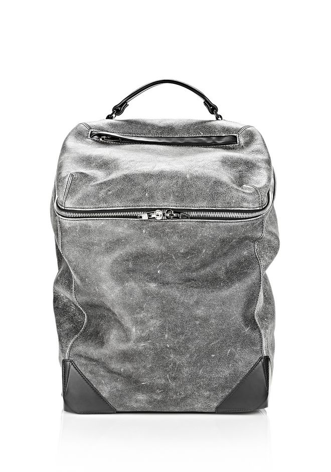 ALEXANDER WANG WALLIE BACKPACK IN DISTRESSED BLACK WITH RHODIUM BACKPACK Adult 12_n_a