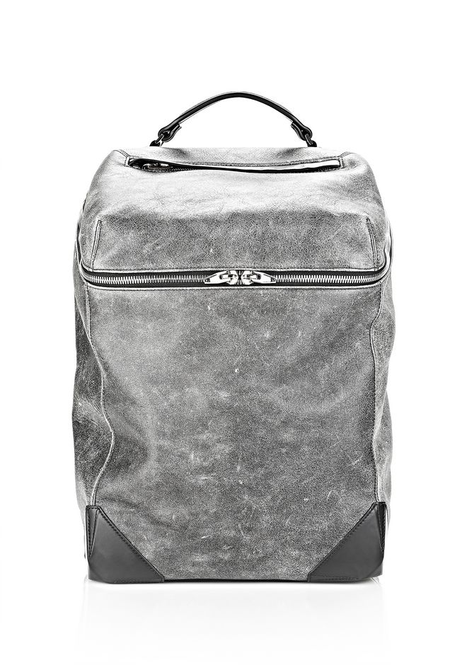 ALEXANDER WANG WALLIE BACKPACK IN DISTRESSED BLACK WITH RHODIUM