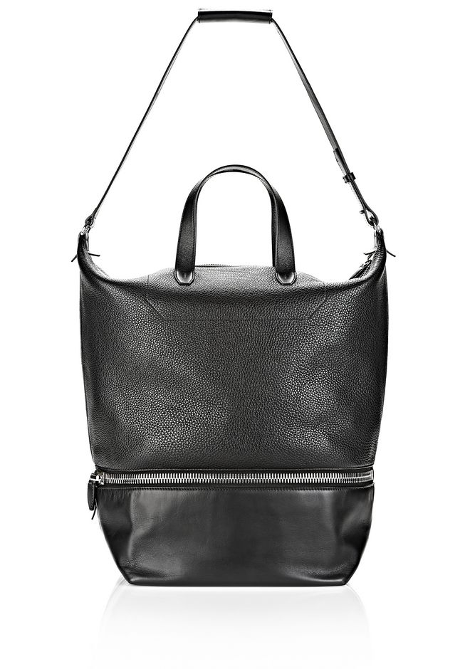 ALEXANDER WANG EXPLORER TOTE IN  BLACK WITH RHODIUM