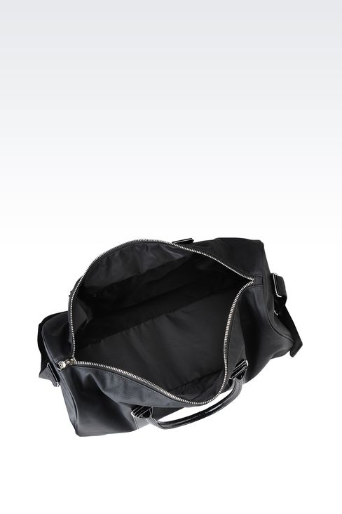 BAG IN FAUX LEATHER WITH PATENT DETAILS: Holdalls Women by Armani - 3