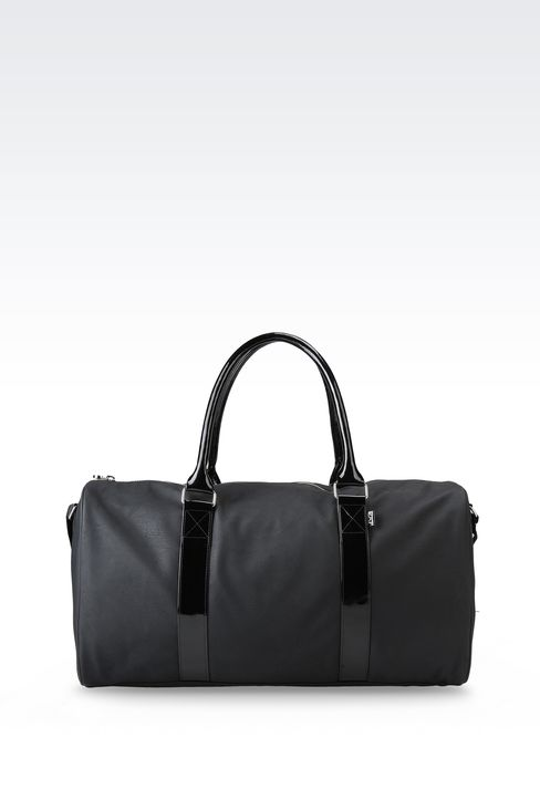 BAG IN FAUX LEATHER WITH PATENT DETAILS: Holdalls Women by Armani - 1