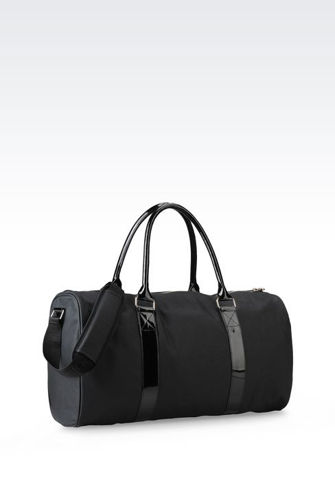 BAG IN FAUX LEATHER WITH PATENT DETAILS: Holdalls Women by Armani - 2