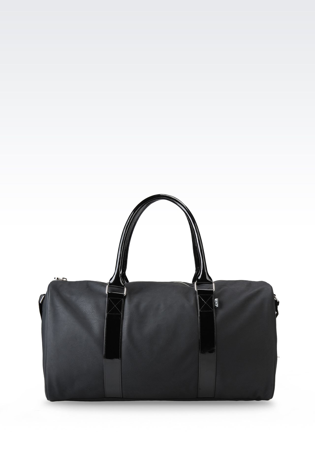 BAG IN FAUX LEATHER WITH PATENT DETAILS: Holdalls Women by Armani - 0