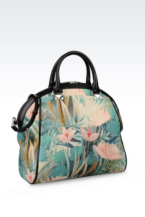 BAG IN WATER LILY PRINT JUTE AND CALFSKIN: Top handles Women by Armani - 2