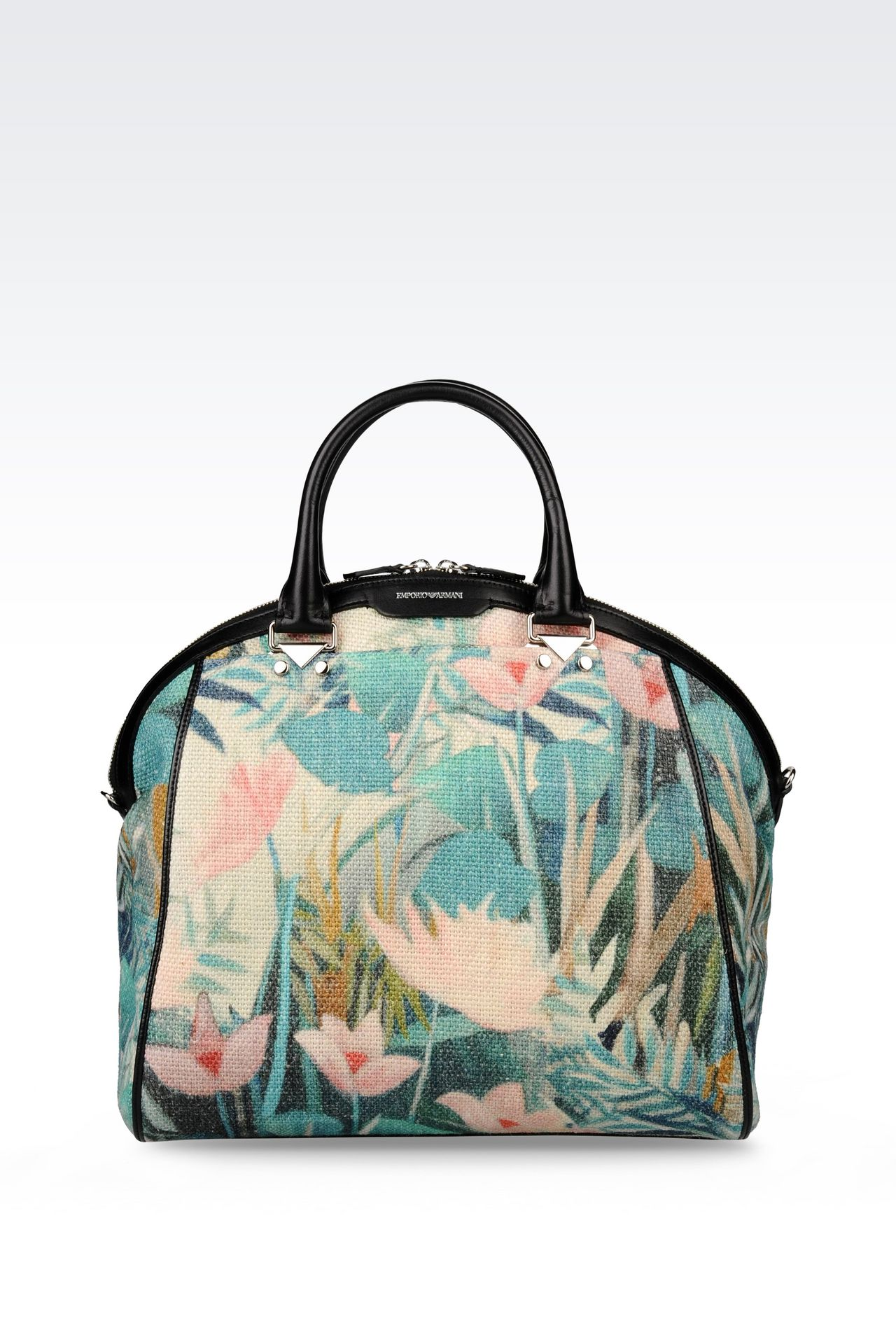 BAG IN WATER LILY PRINT JUTE AND CALFSKIN: Top handles Women by Armani - 0