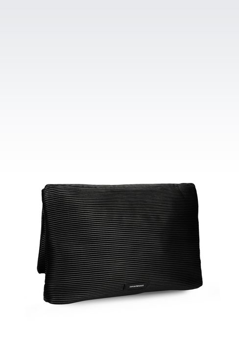 CLUTCH IN PLEATED EFFECT NAPPA LEATHER: Pochettes Women by Armani - 2