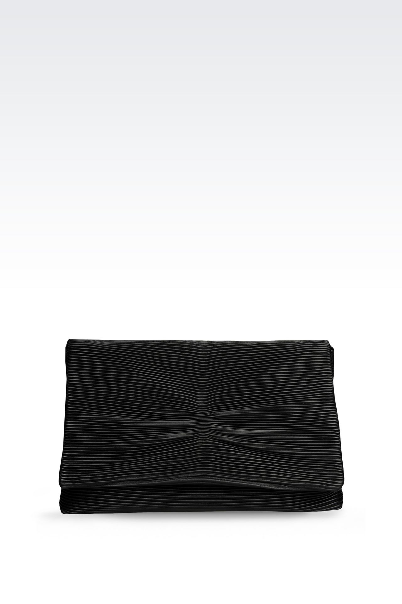CLUTCH IN PLEATED EFFECT NAPPA LEATHER: Pochettes Women by Armani - 0