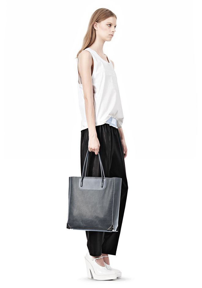 ALEXANDER WANG PRISMA TOTE IN EXHAUST WITH MATTE BLACK  TOTE Adult 12_n_r