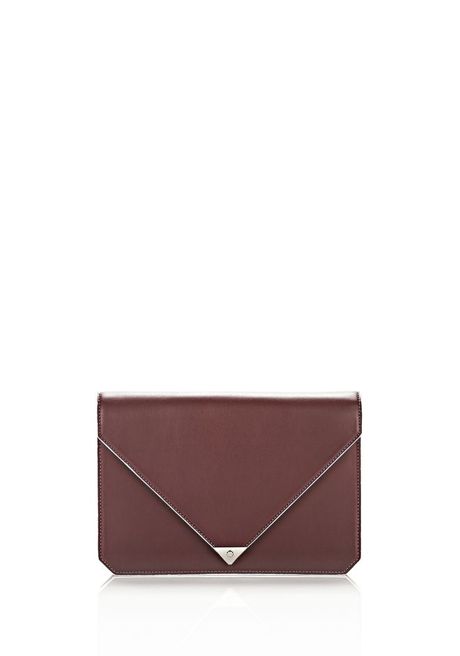 ALEXANDER WANG PRISMA ENVELOPE IN  CORDOVAN  WITH RHODIUM CLUTCH Adult 12_n_f