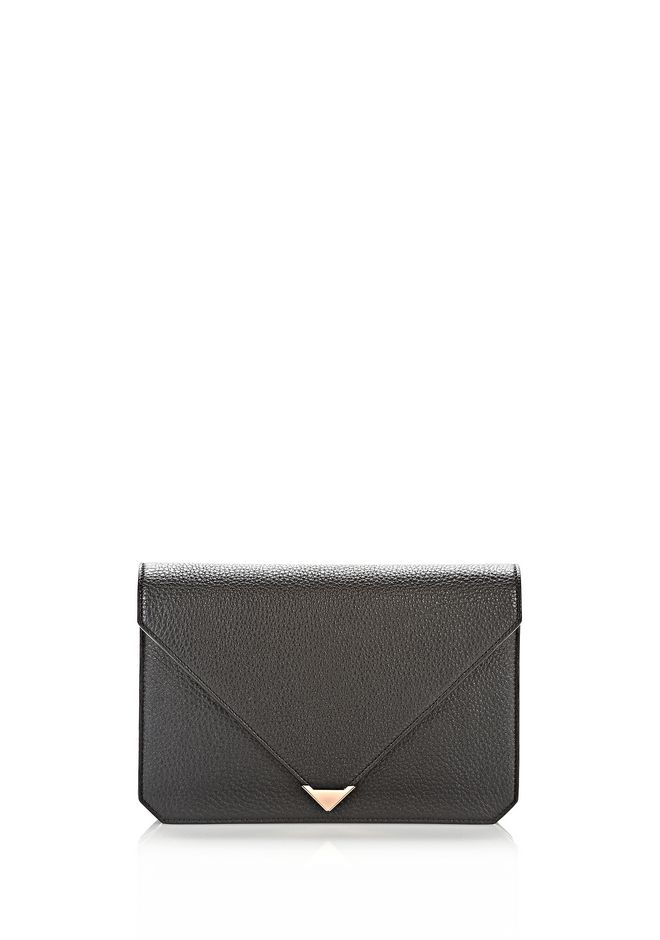 ALEXANDER WANG PRISMA ENVELOPE IN BLACK WITH ROSE GOLD CLUTCH Adult 12_n_f
