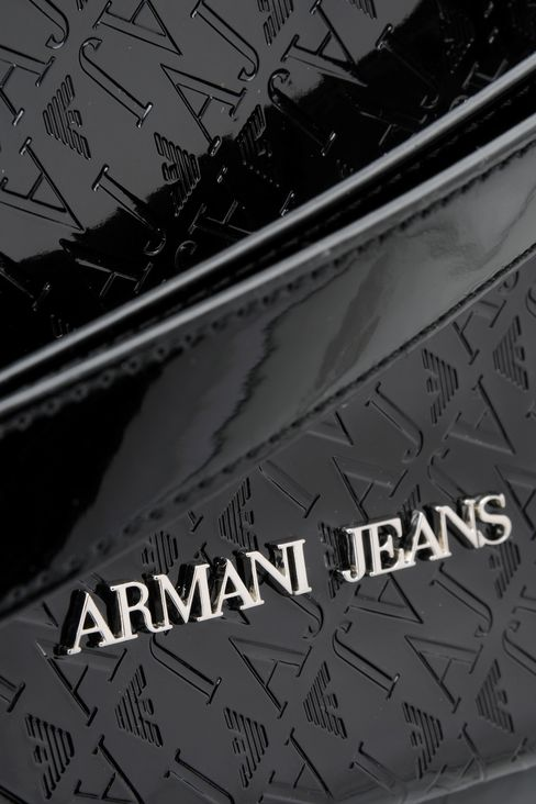 TOTE BAG IN PATENT FAUX LEATHER WITH ALL OVER LOGO: Shoppers Women by Armani - 4