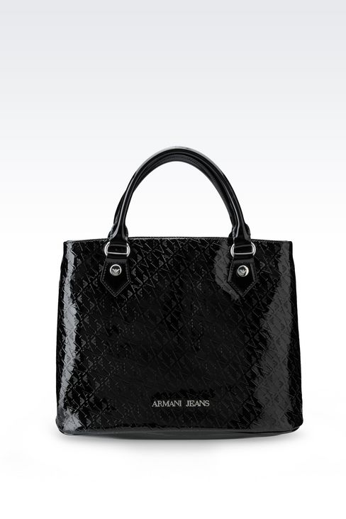 TOTE BAG IN PATENT FAUX LEATHER WITH ALL OVER LOGO: Shoppers Women by Armani - 1