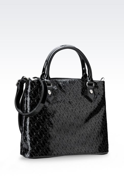 TOTE BAG IN PATENT FAUX LEATHER WITH ALL OVER LOGO: Shoppers Women by Armani - 2
