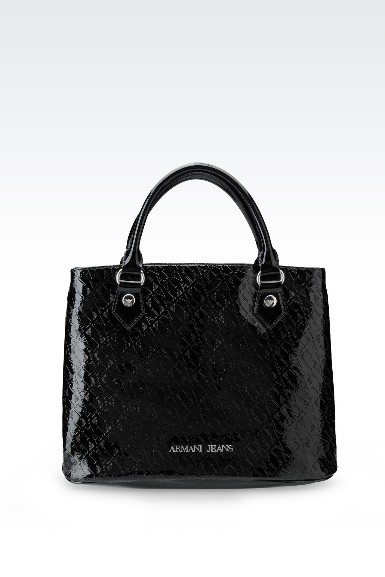 TOTE BAG IN PATENT FAUX LEATHER WITH ALL OVER LOGO: Shoppers Women by Armani - 0