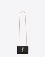 Classic Small Monogram  Saint Laurent Satchel nera in texture grain de poudre