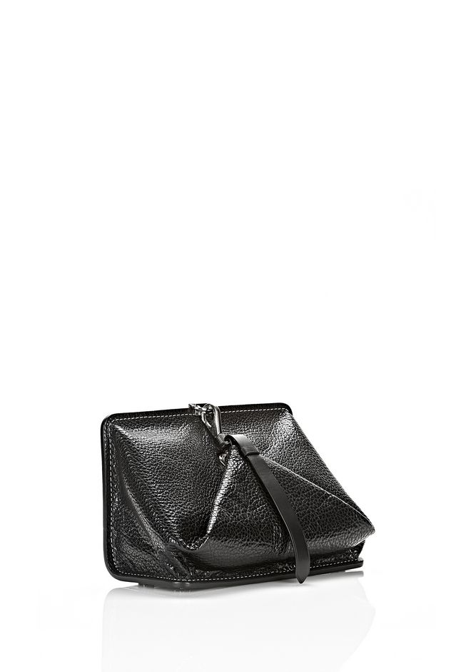 ALEXANDER WANG OPANCA CLUTCH IN BLACK WITH RHODIUM CLUTCH Adult 12_n_e