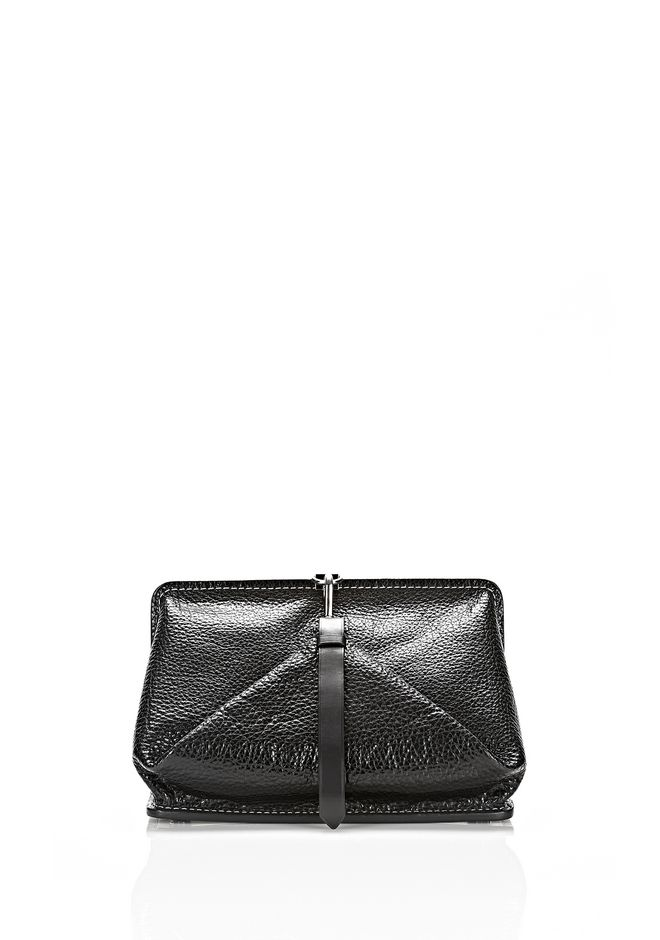 ALEXANDER WANG OPANCA CLUTCH IN BLACK WITH RHODIUM CLUTCH Adult 12_n_f