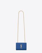 Klassische kleine Monogramme Saint Laurent Satchel aus königsblauem mit Grain de Poudre Struktur