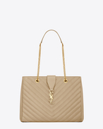 CLASSIC MONOGRAM SAINT LAURENT SHOPPING BAG IN Dark Beige GRAIN DE POUDRE TEXTURED MATELASSÉ LEATHER