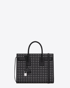 Classic Small Sac De Jour bag in Black Grain De Poudre Textured Leather and Silver-Toned Metal Studs