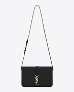 Classic medium Monogram Saint Laurent Université Bag in Black Leather