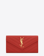 Large Monogram Saint Laurent Flap Wallet in Lipstick Red Grain de Poudre Textured matelassé Leather