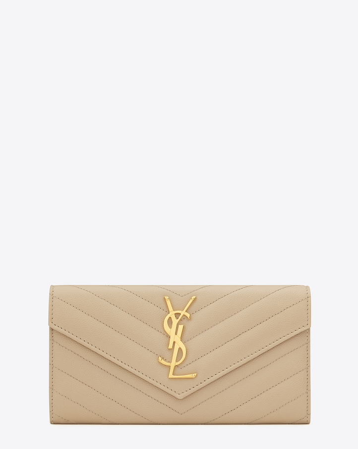 Saint Laurent Large Monogram Saint Laurent Flap Wallet In Powder ...