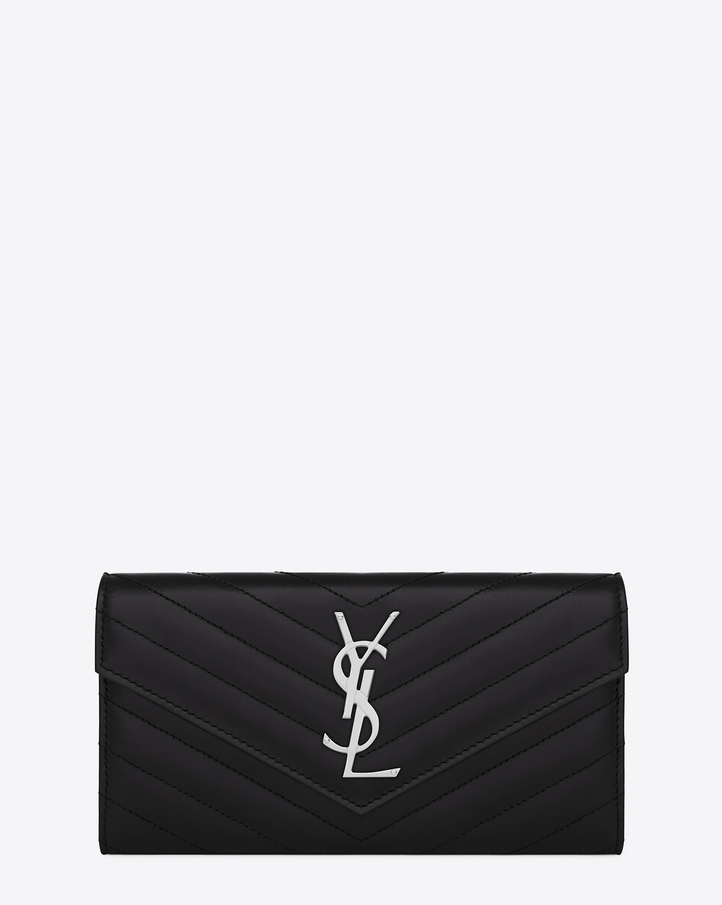 laurent bags - Saint Laurent Large Monogram Saint Laurent Flap Wallet In Black ...