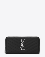 Monogram Saint Laurent Zip Around Wallet in BLACK Matelassé Leather