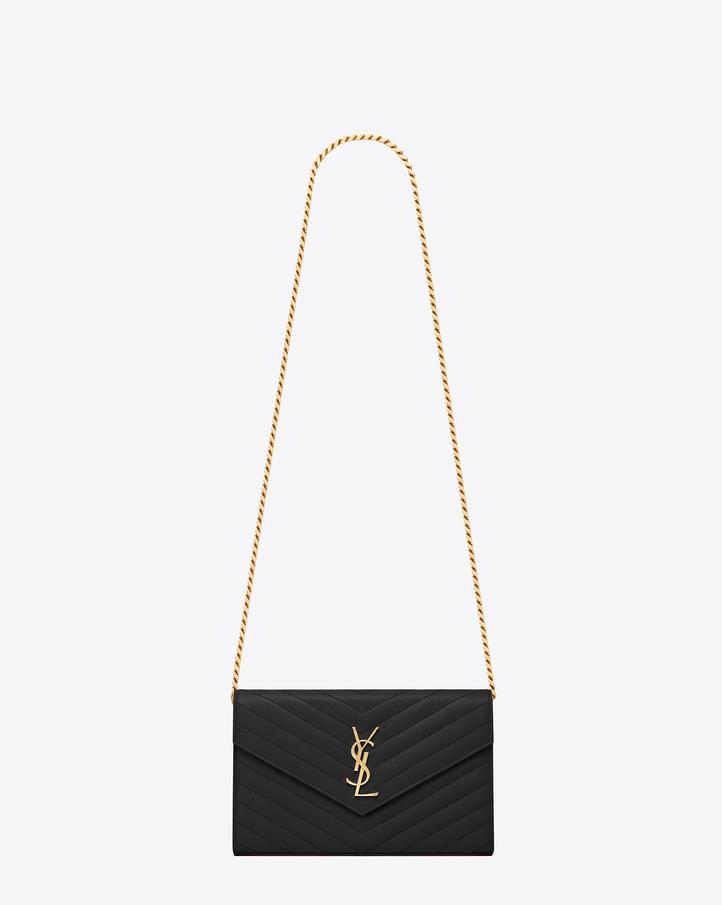 2ba078a469d Saint Laurent Monogram Saint Laurent Chain Wallet In Black Grain ... Bag:  ysl ...