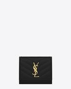 Monogram Saint Laurent Compact Wallet in Black Grain de Poudre Textured matelassé Leather