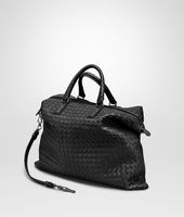 BORSA CONVERTIBLE MEDIA IN INTRECCIATO NAPPA NERO