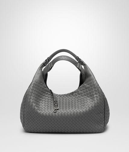 New Light Grey Intrecciato Nappa Campana Bag