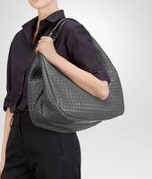 New Light Grey Intrecciato Nappa Campana Bag