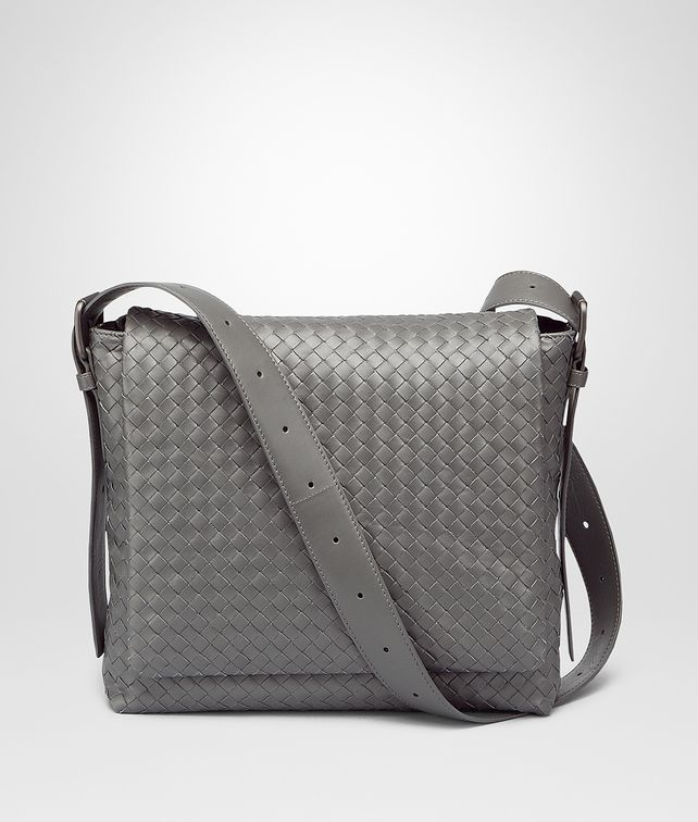 BOTTEGA VENETA New Light Grey Intrecciato Light Calf Cross Body Messenger Messenger Bag U fp