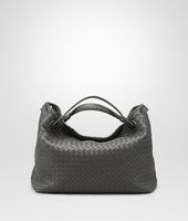 MEDIUM SHOULDER BAG IN NEW LIGHT GREY INTRECCIATO NAPPA