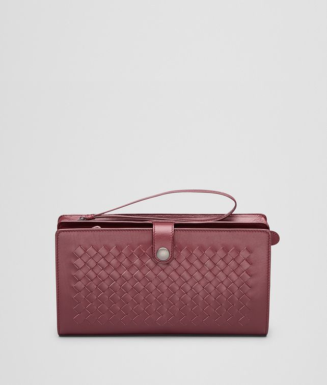 BOTTEGA VENETA Aubergine Intrecciato Light Calf Continental Wallet Small bag U fp